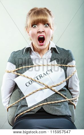 Scared Businesswoman Bound By Contract Terms.
