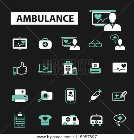 ambulance, emergency medicine, ambulance car, icons, signs vector concept set for infographics, mobile, website, application