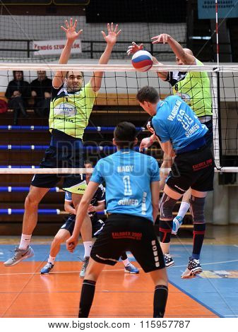 KAPOSVAR, HUNGARY - JANUARY 16: Zoltan David (8)  blocks the ball at a Hungarian National Championship volleyball game Kaposvar (green) vs. Sumeg (blue), January 16, 2016 in Kaposvar, Hungary.
