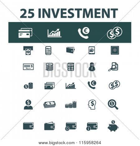investment, bank, trading, finance, money, check concept  icons, signs vector concept set for infographics, mobile, website, application