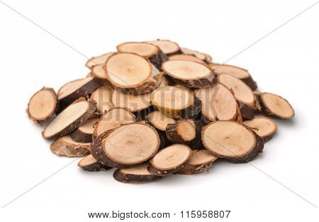 Pile of wood slices isolated on white