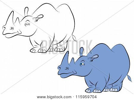 Illstration Of A Cheerful Blue Rhinoceros For The Children's Book