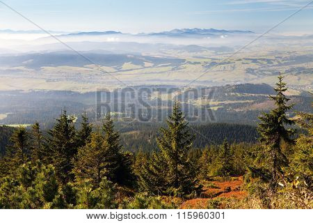 View From Babia Gora Or Babi Hora To Slovakia