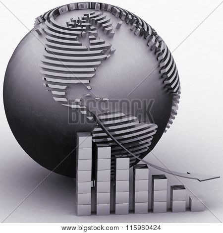Lowering chart with a pointer on a background a globe