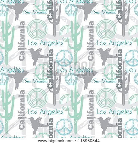 Vector Pastel California Animals Travel Seamless Pattern with Los Angeles, San Francisco, Hummingbir