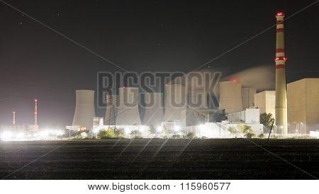Night View Of Jaslovske Bohunice Power Plant, Slovakia