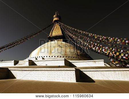 Night View Of Bodhnath Stupa - Kathmandu - Nepal
