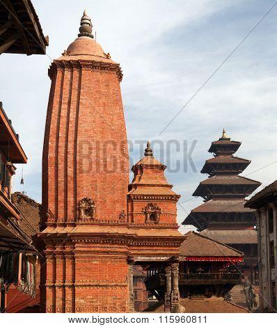 Hinduist Temples In Bhaktapur, Kathmandu Valey, Nepal.