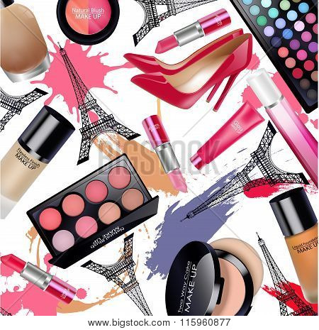 Sets of cosmetics with Eiffel Tower on white background
