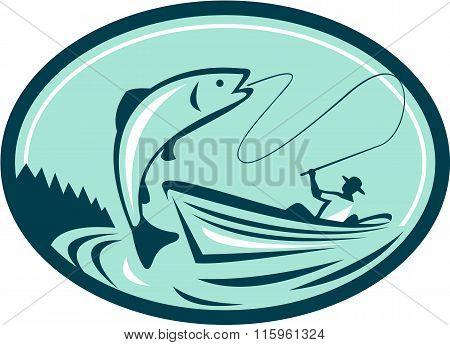 Fly Fisherman Boat Reeling Trout Retro