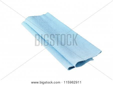 Blue cloth place mat isolated on white