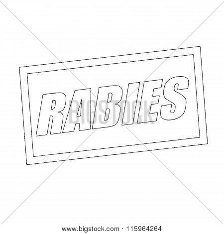 Rabies Monochrome Stamp Text On White