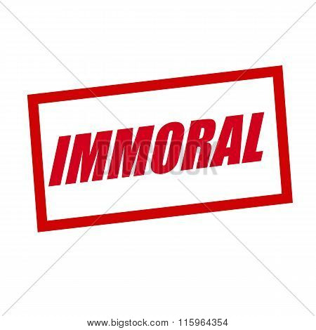 Immoral Red Stamp Text On White