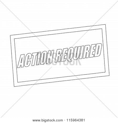 Action Required Monochrome Stamp Text On White