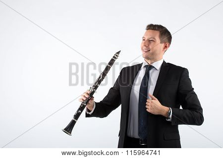 Young man playing the clarinet