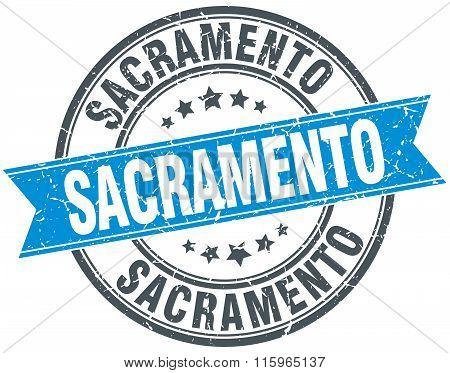 Sacramento blue round grunge vintage ribbon stamp