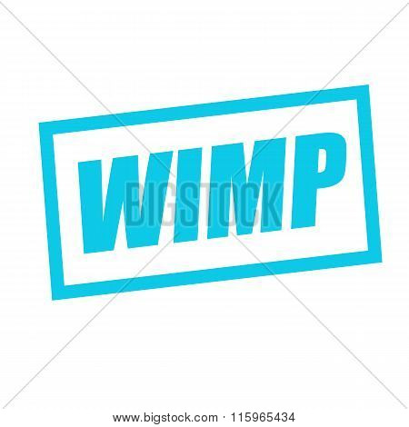 Wimp Blue Stamp Text On White