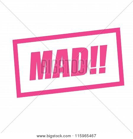 Mad Pink Stamp Text On White