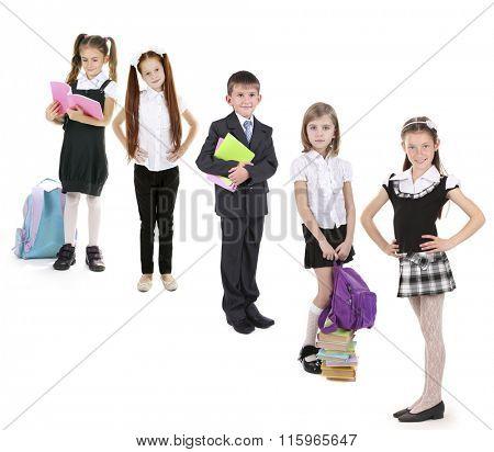 Cute happy  schoolchild, isolated on white