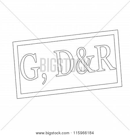 G, D&r Monochrome Stamp Text On White