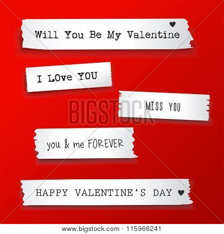 Valentine paper banner with text messages.Vector illustration