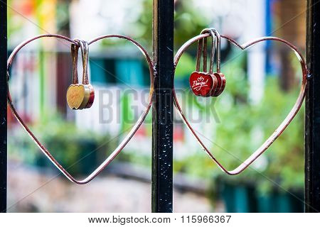 Red Heart Shaped Lock Concept of Love.