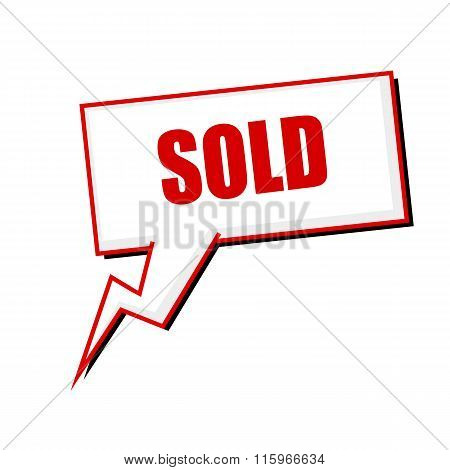 Sold Red Stamp Text On White Speech Bubbles