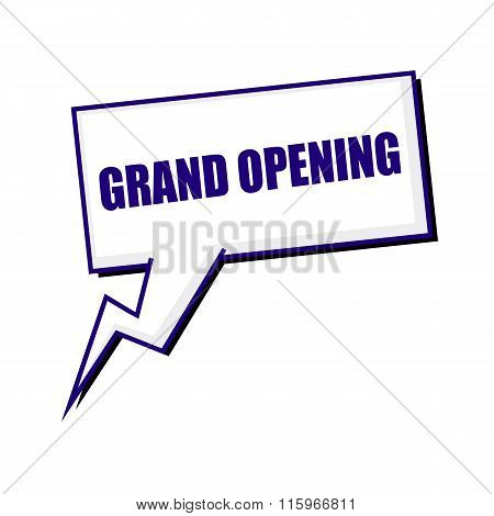 Grand Opening Blueblack Stamp Text On White Speech Bubbles