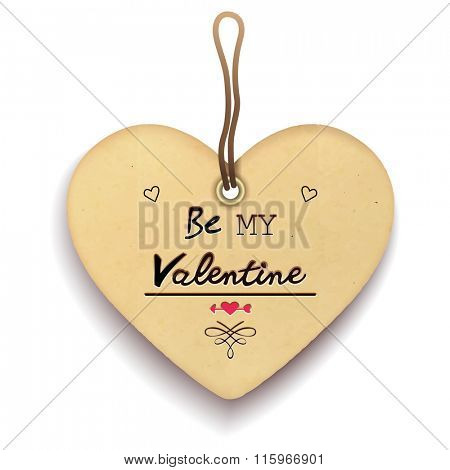 Paper heart shape tag . Valentine's day greeting card design. Vector illustration