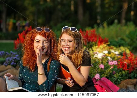 Girlfriends Students Laugh In The Park.