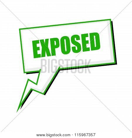 Exposed Green Stamp Text On White Speech Bubbles