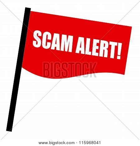 Scam Alert White Stamp Text On Red Flag