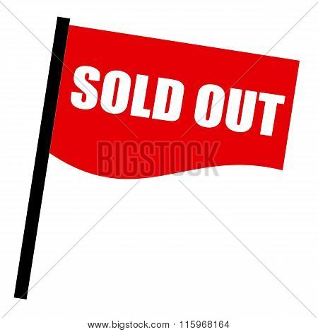 Sold Out White Stamp Text On Red Flag