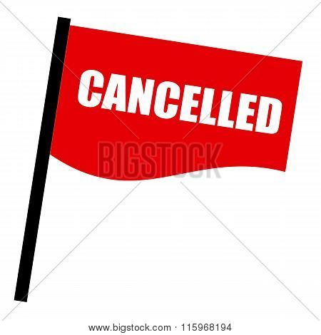 Cancelled White Stamp Text On Red Flag