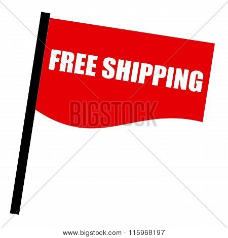 Free Shipping White Stamp Text On Red Flag
