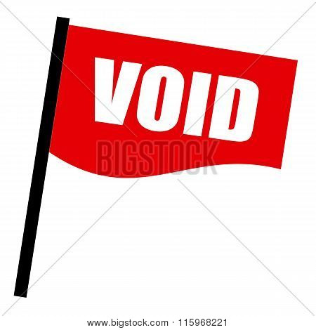 Void White Stamp Text On Red Flag