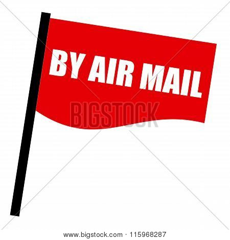 By Air Mail White Stamp Text On Red Flag