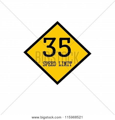 Speed Limit 35 Black Stamp Text On Background Yellow