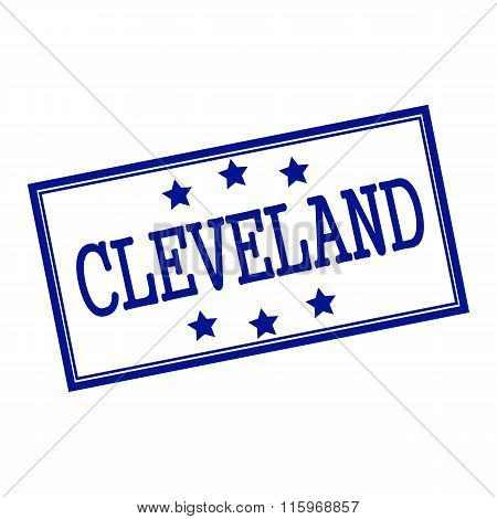 Cleveland Blue-black  Stamp Text On Background White And Star