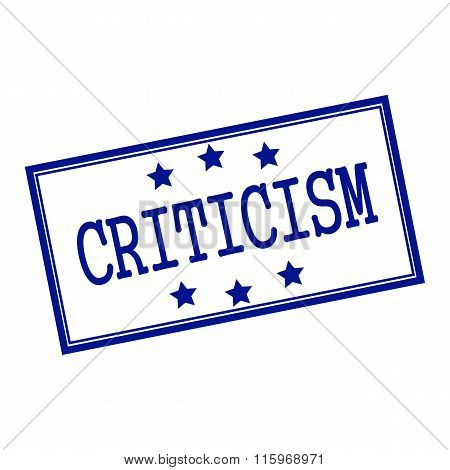 Criticism Blue-black  Stamp Text On Background White And Star