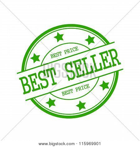 Bestseller Green Stamp Text On Green Circle On A White Background And Star