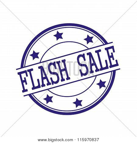 Flash Sale Blue-black Stamp Text On Blue-black Circle On A White Background And Star