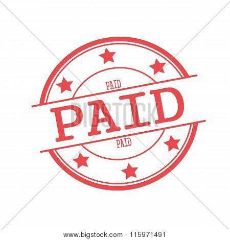 Paid Red Stamp Text On Red Circle On A White Background And Star
