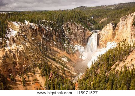 Yellowstone Falls In Early Spring