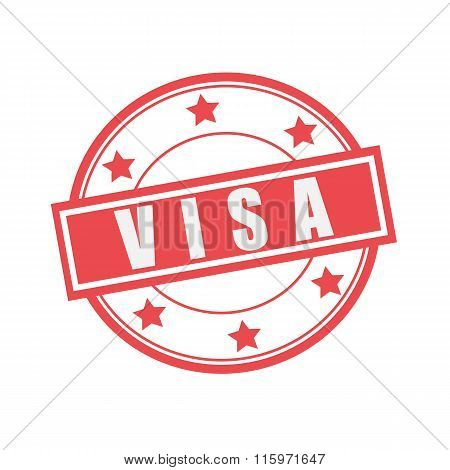 Visa White Stamp Text On Circle On Red Background And Star