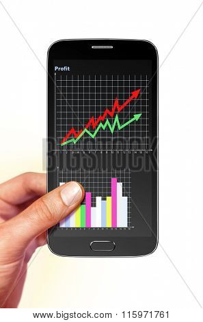 smartphone with diagram of profit on screen in hand