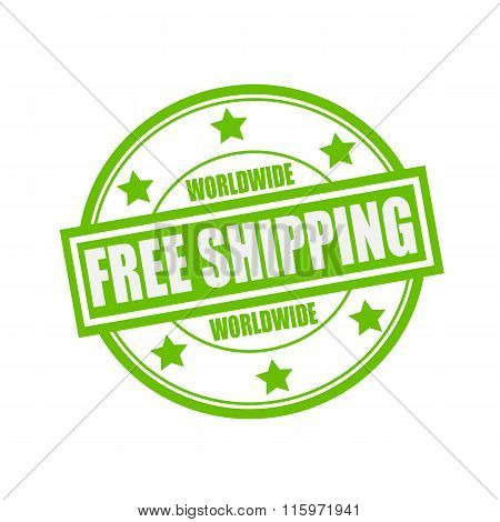 Worldwide Free Shipping White Stamp Text On Circle On Green Background And Star