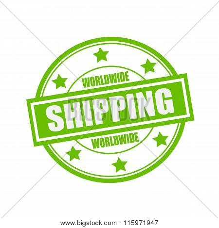 Worldwide Shipping White Stamp Text On Circle On Green Background And Star