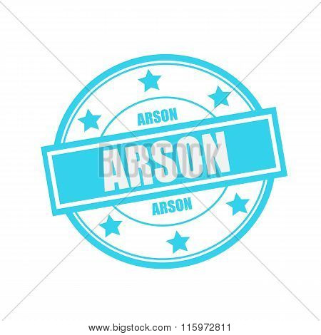 Arson White Stamp Text On Circle On Blue Background And Star
