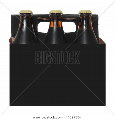 Six Pack Of Dark Beer Bottles